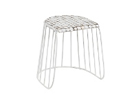 LivingStyles Alan Coconut Chip & Steel Table Stool