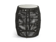Karvalis Woven Rope Round Side Table with Poly Cement Top