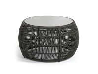 LivingStyles Karvalis Woven Rope Round Coffee Table with Poly Cement Top, 70cm