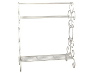 LivingStyles Longreach Metal Towel Rack, Distressed Cream
