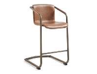 LivingStyles Mooney PU Leather Swing Leg Counter Stool, Tan