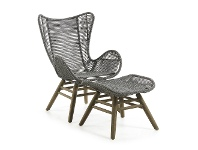 LivingStyles Kamden Rope & Eucalyptus Timber Indoor / Outdoor Lounge Chair with Foot Stool, Grey