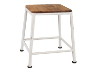 LivingStyles Hunston Metal Table Stool with Timber Seat, White