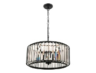 LivingStyles Olympia Metal & Glass Pendant Light, 4 Light