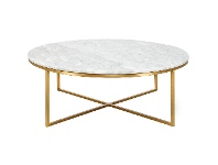 LivingStyles Kylie Marble & Stainless Steel Round Coffee Table, 100cm