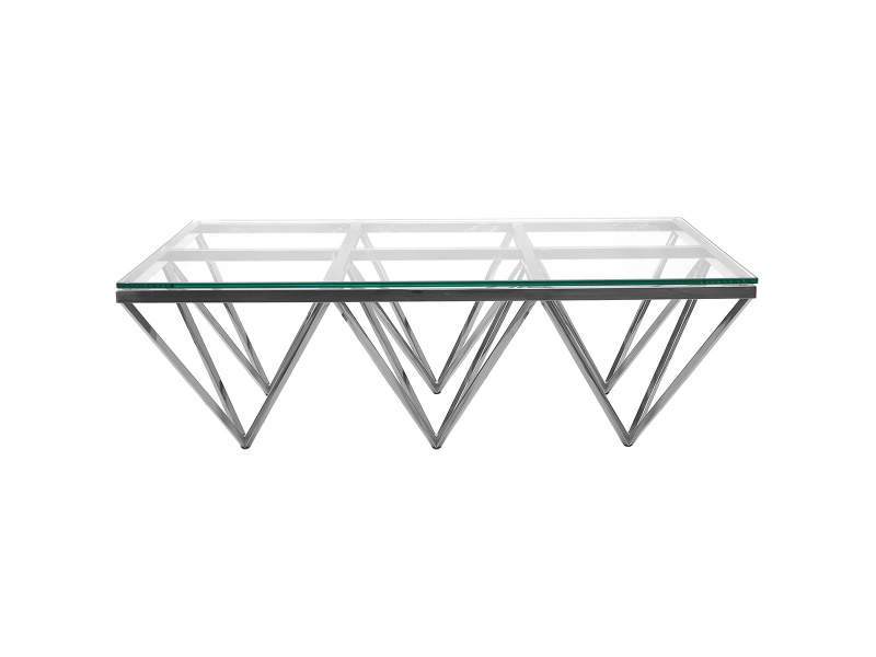 Elvina Glass & Stainless Steel Coffee Table, 120cm, Silver