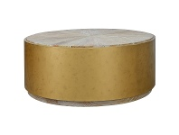 LivingStyles Melina Reclaimed Elm Timber & Iron Round Coffee Table, 100cm