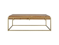 LivingStyles Novae Reclaimed Timber & Iron Coffee Table, 140cm, Natural / Brass