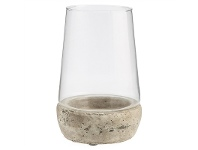 LivingStyles Palmira Terracotta and Glass Cylinder Hurricane Lamp, Medium, Dirty White
