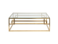 LivingStyles Mackerel Glass & Stainless Steel Coffee Table, 120cm, Gold