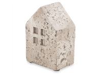 LivingStyles Palmira Cement Square House Lantern, Small, Dirty White