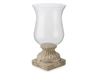 LivingStyles Palmira Cement and Glass Urn Hurricane, Large, Dirty White
