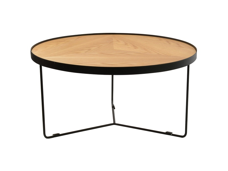 Luther Metal Round Wide Coffee Table, High, Black / Ashwood