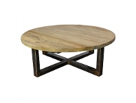 LivingStyles Aramis Reclaimed Elm Timber 100cm Round Coffee Table