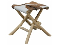 LivingStyles Wichita Solid Teak Timber Folding Stool with Goat Hide Seat