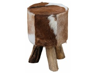 LivingStyles Wichita Goat Hide and Teak Timber Round Stool