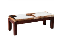 LivingStyles Ardmore Solid Mahogany Timber Double Bench with Goat Hide Seat