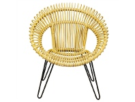 LivingStyles Rosaline Hand Woven Rattan Leisue Chair, Natural
