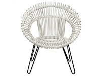 LivingStyles Rosaline Hand Woven Rattan Leisue Chair, White