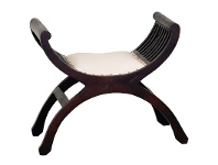 Liam Mahogany Timber Stool with Cushioned Seat, Chocolate