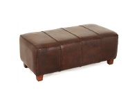 LivingStyles Rhyno Leather Upholstered Mahogany Timber Ottoman - Large