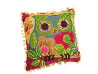 LivingStyles Square Cotton Applique Chain Embroidered Owl Pillow