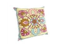LivingStyles Suzani Embroidered Magneta Cotton Pillow - Style A
