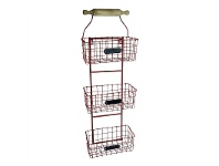 LivingStyles Country Metal Wall Baskets - Red