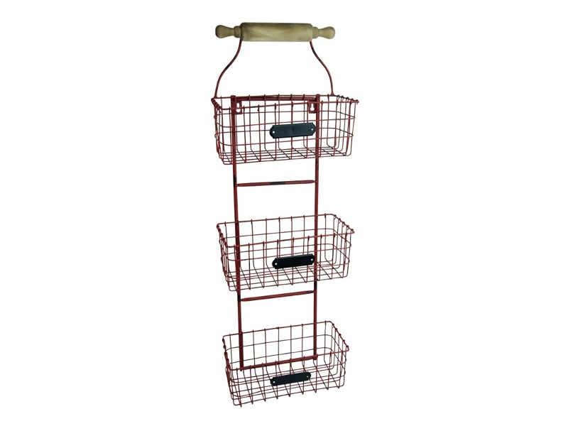 Country Metal Wall Baskets - Red