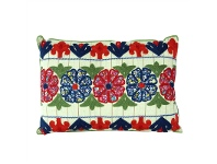LivingStyles Embroidered Flowers Cotton Cushion - Style B