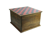 Solid Mango Wood Timber Trunk Chest with Reversi Board Lid
