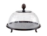 LivingStyles Alma Rustic Metal Cake Stand with Glass Dome