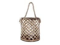LivingStyles Broughton Bamboo Hurricane Candle Holder with Rope Handle - Small