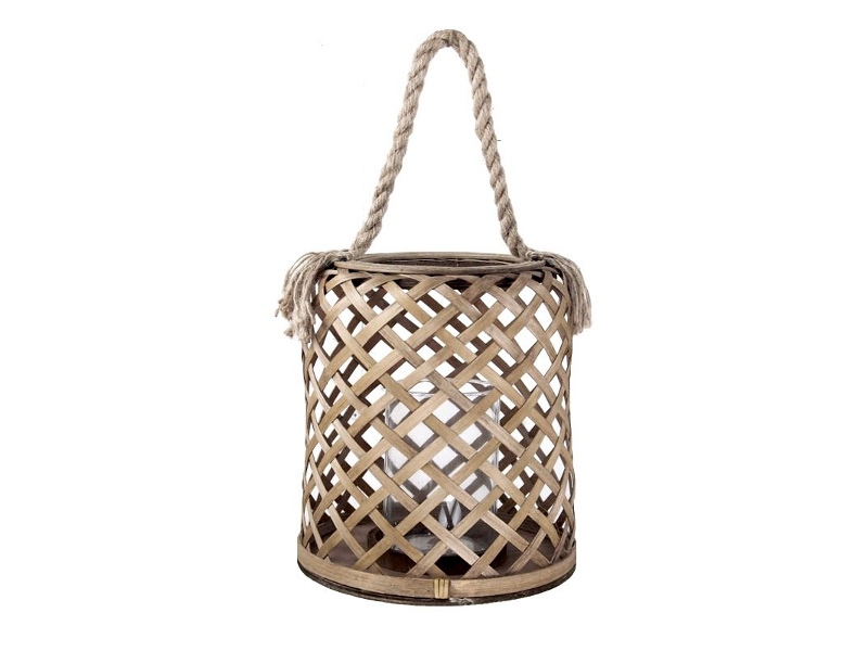 Broughton Bamboo Hurricane Candle Holder with Rope Handle - Small