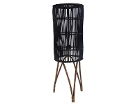 LivingStyles Avita Rattan Cyclinder Floor Lamp, Black