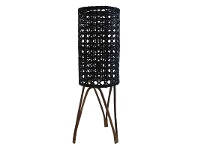 LivingStyles Granz Rattan Cyclinder Floor Lamp, Black