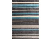 LivingStyles City Stylish Stripe Modern Rug, 160x110cm, Charcoal / Blue