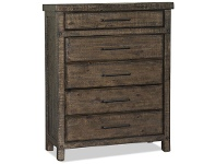 LivingStyles Montreal Rustic Recycled Pine Timber 5 Drawer Tallboy