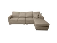 LivingStyles Club Fabric 4 Seater Sofa with Reversible Chaise - Taupe