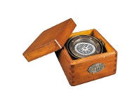 LivingStyles Lifeboat Solid Brass Compass in Timber Box