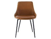 LivingStyles Como Commercial Grade Faux Leather Dining Chair, Tan