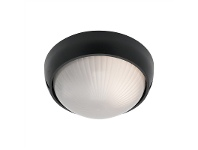 LivingStyles Coogee Small Round Aluminium IP44 Exterior Ceiling/Wall Light - Black