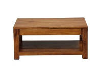 LivingStyles Amsterdam Mahogany Timber 2 Drawer Coffee Table, 90cm, Light Pecan
