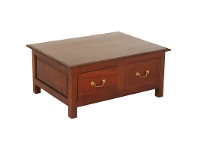 LivingStyles Malacca Solid Mahogany Timber 4 Drawer Coffee Table, 90cm, Mahogany
