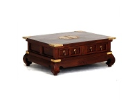 LivingStyles Ming Solid Mahogany Timber 4 Drawer 100cm Rectangular Coffee Table - Mahogany