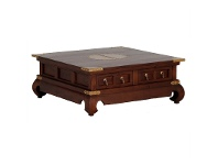 LivingStyles Ming Solid Mahogany Timber 4 Drawer 100cm Square Coffee Table - Mahogany