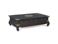 LivingStyles Ming Solid Mahogany Timber 6 Drawer 150cm Coffee Table - Chocolate