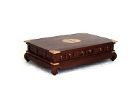 LivingStyles Ming Solid Mahogany Timber 6 Drawer 150cm Coffee Table - Mahogany