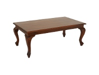 LivingStyles Queen Ann Mahogany Timber Coffee Table, 120cm, Mahogany