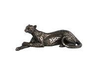 LivingStyles Veronese Cold Cast Bronze Coated Wild Life Figurine, Lying on Ground Cheetah